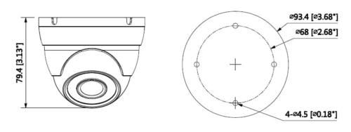 Hac Hdw1200M 0360B Boyutlar 1 - 2Mp Hdcvi Ir Eyeball Kamera