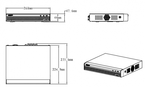 Xvr4108 Hs Boyutlar 1 - 16 Kanal Penta-Brid 1080P Kompakt 1U Dijital Video Kaydedici