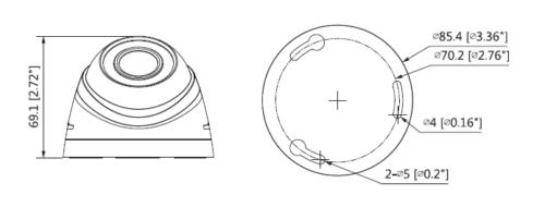 Hac Hdw1200Rp 0360B S3 Boyutlar 1 - 2Mp Hdcvi Ir Eyeball Kamera