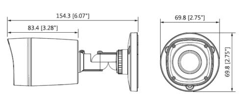 Hac Hfw1200Rp 0360B S3 Boyutlar 1 - 2Mp Hdcvi Ir Bullet Kamera