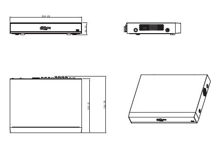 Boyutlar 5 - 8 Kanal Penta-Brid 4K Mini 1U Dijital Video Kaydedici