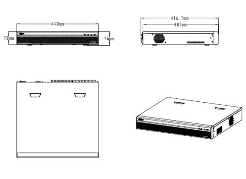 Boyutlar 4 - 32 Kanal Penta-Brid 1080P 1,5U Dijital Video Kaydedici