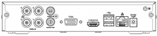 Arka Panel 1 - 4 Kanal Penta-Brid 1080N / 720P Cooper 1U Dijital Video Kaydedici
