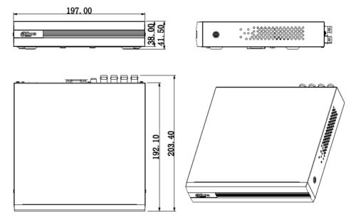 Boyutlar 3 - 8 Kanal Penta-Brid 1080N / 720P Cooper 1U Dijital Video Kaydedici