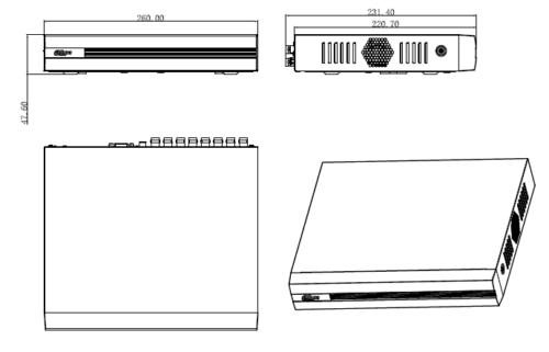 Boyutlar 5 - 16 Kanal Penta-Brid 1080N / 720P Kompakt 1U Dijital Video Kaydedici