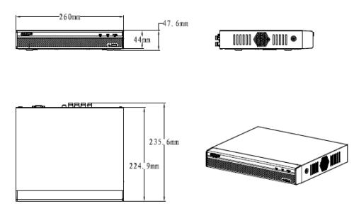 Boyutlar 3 - 4 Kanal Penta-Brid 1080P Kompakt 1U Dijital Video Kaydedici